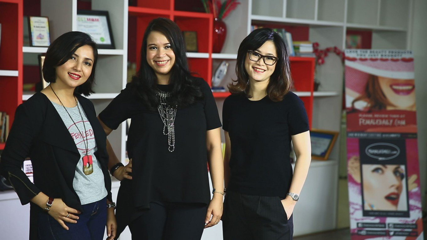 The founders of Female Daily Network (from left to right): the company's CEO Hanifa Ambadar, beauty director Affi Assegaf and operating director Novita Imelda. (thejakartapost.com/Naga Tonga)
